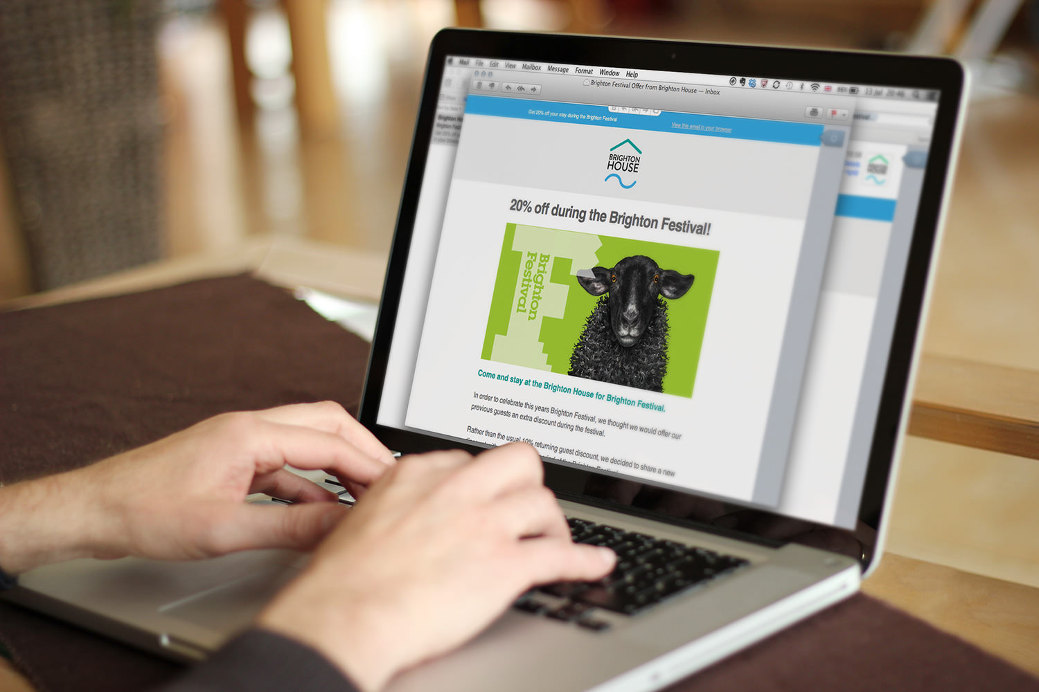 A Brighton House email newsletter viewed on a laptop– Tribus Creative, marketing for small business