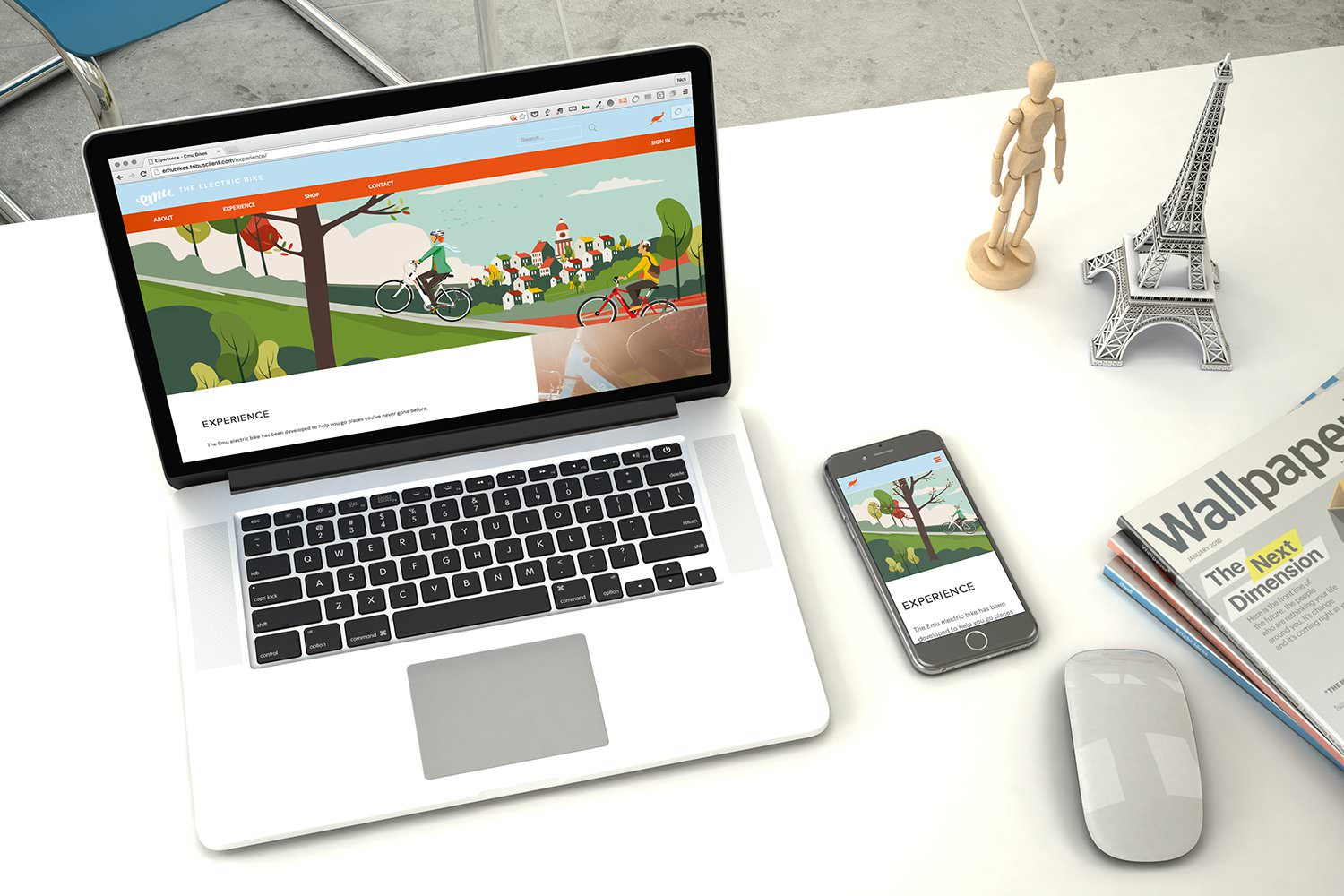 The Emu Bikes e-commerce website design displayed on a laptop and smartphone – Tribus Creative – web design for small business
