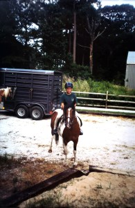 Minnow at the Chincoteague Pony Centre in 2001 with Chris Nelson