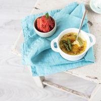 #trickydishwish: grüne spargel crème brûlée mit tomatensorbet