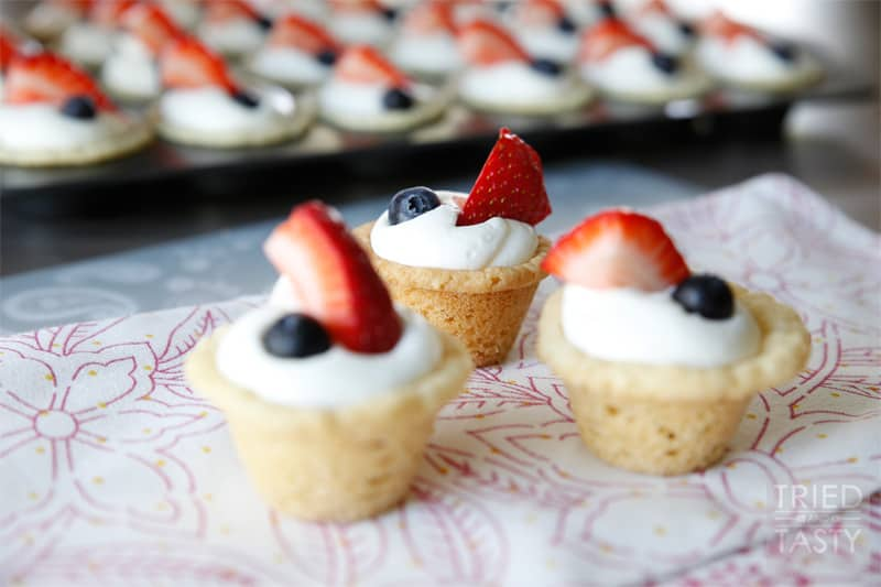 Red White & Blue Strawberry Blueberry Sugar Cookie Cups with Coconut ...
