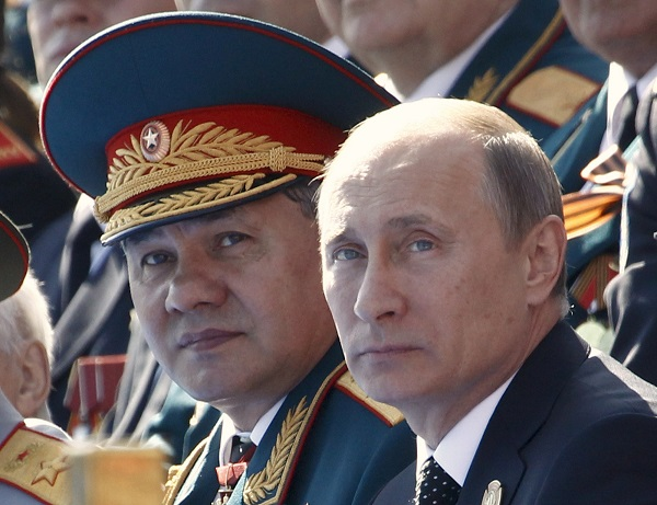 Russian President Putin and DM Shoigu watch the Victory Parade on Moscow's Red Square