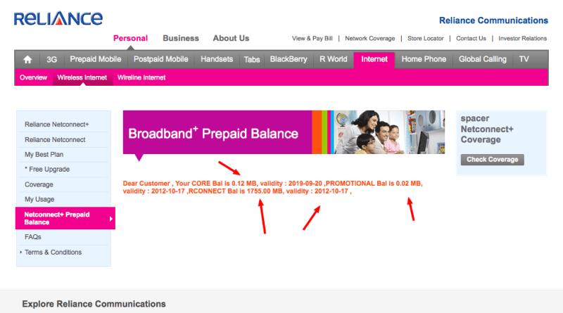 reliance netconnect+ balance