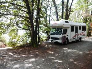 Freedom camping. Første parket til søen