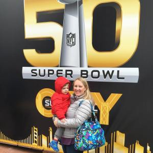 Having fun at SuperBowlCity in downtown SanFrancisco! tmom SB50
