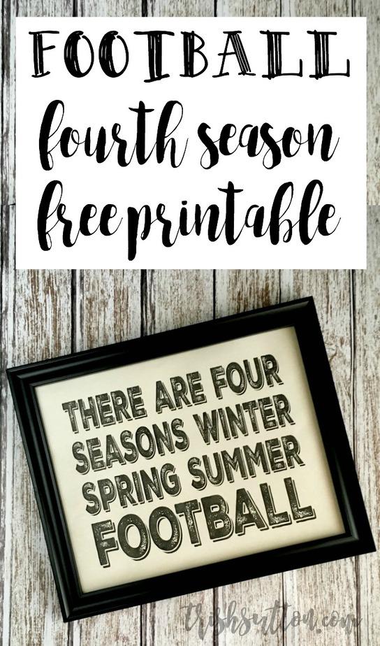 Football; Fourth Season Printable.  There are four seasons - winter, spring, summer, football quote. TrishSutton.com