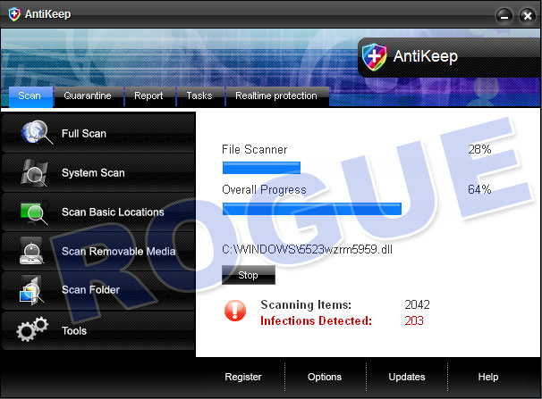 AntiKeep - rogue antispyware