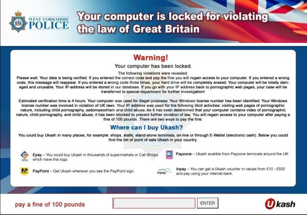 Your computer is locked for violating the Law of Great  Britain.