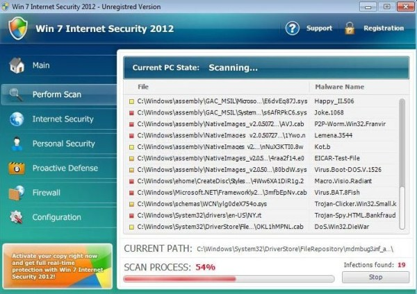 Win 7 Internet Security 2012 scam