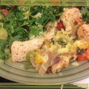 Eat real food! Tonight's dinner was fajitas with a giant mixed green and kale salad.