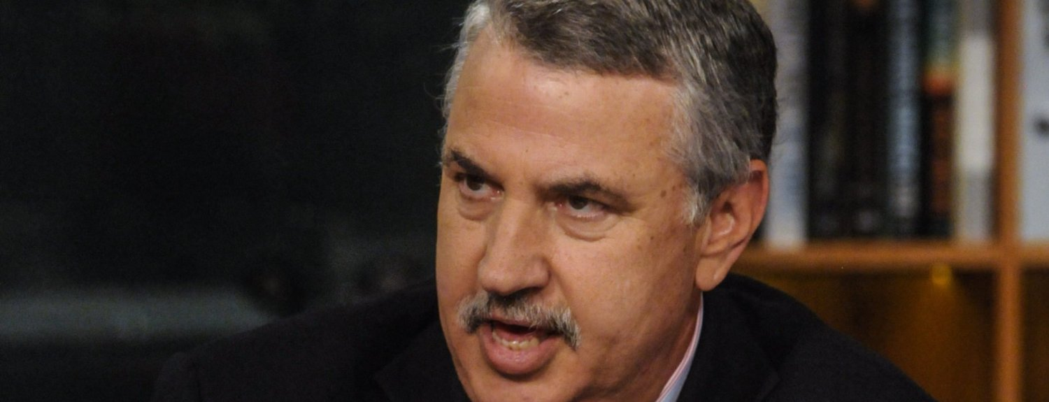 """MEET THE PRESS -- Pictured: (l-r)    Tom Friedman, Columnist, New York Times, appears on """"Meet the Press"""" in Washington, D.C., Sunday, July 7, 2013.  (Photo by: William B. Plowman/NBC/NBC NewsWire via Getty Images)"""