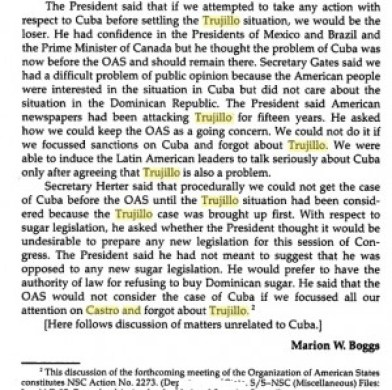 OAS cuba-DR sugar quota elimination