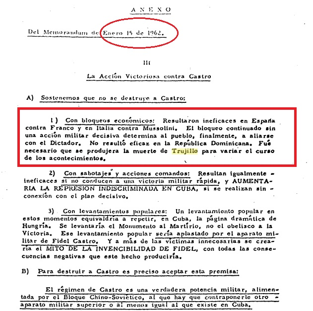 trujillo death to change course of events 1962 cuba strategy doc