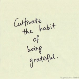 cultivate a habit of being grateful