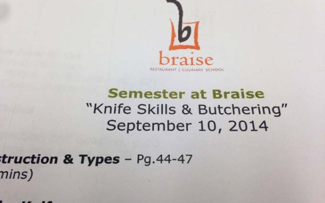 Braise Cooking School Week 1 – Knife Skills