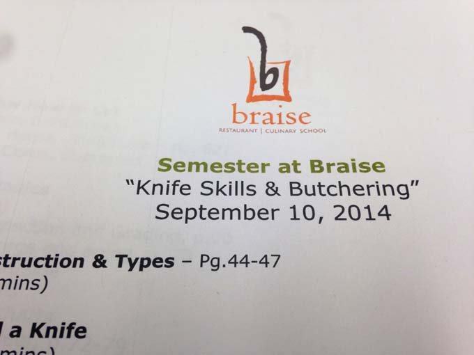 Week One at Braise Culinary School