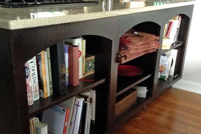 Cookbook Shelves for Kitchen Remodel
