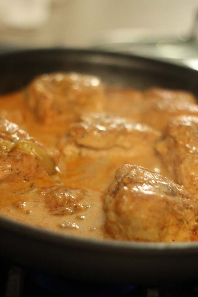Savory dish usiing Noosa Yoghurt simmering on stove