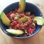 Quinoa with Red Pepper and cucumber salad