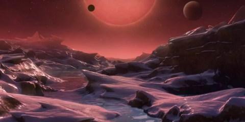 illustration vue artiste trappist-1 depuis planete habitable