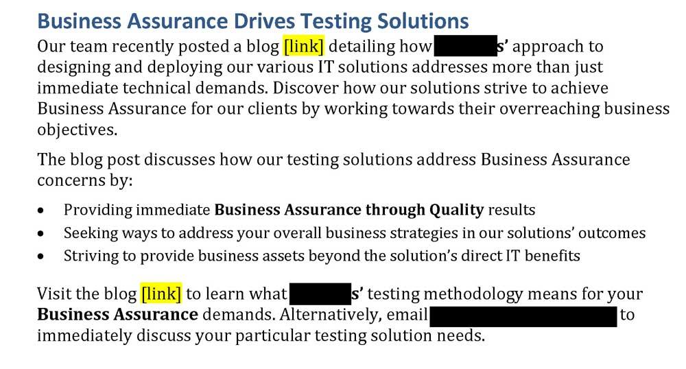 Steven Trustrum Business Assurance Email Blast