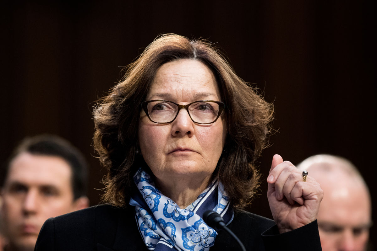 A close up of Gina Haspel's face during a hearing, cia