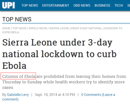 upi, united press international, fail, ebola, fraud, sierra leone, liberia, jfk medical center, monrovia, citizens of ebola