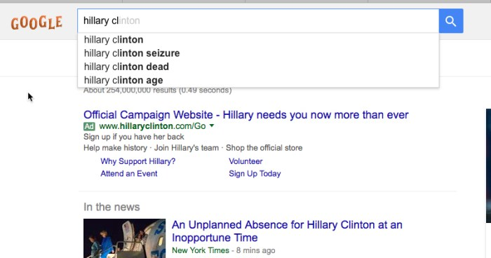 Top Hillary Search Terms: Seizure, Dead, Age