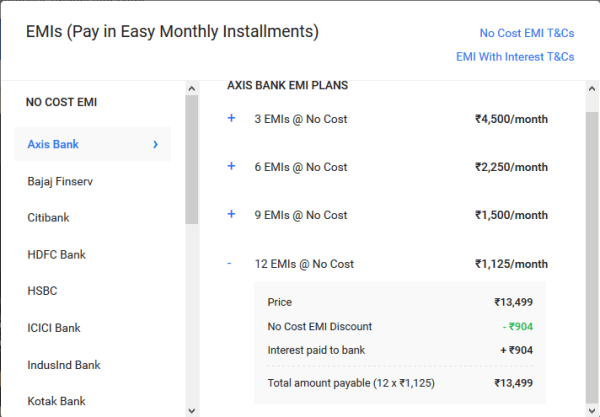 No cost emi discount on flipkart