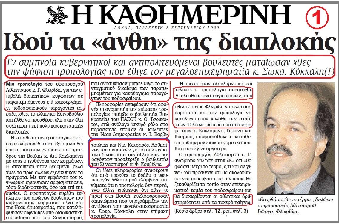 ΔΙΑΠΛΟΚΗ 2000 -ΚΟΚΚΑΛΗΣ -ΠΑΣΟΚ -ΝΔ -ΚΟΥΒΕΛΗΣ
