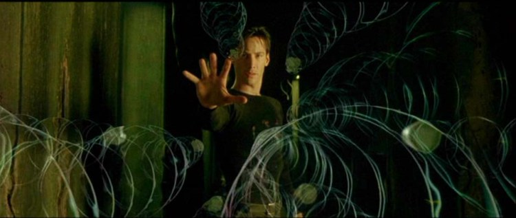 Keanu Reeves in dystopian film The Matrix