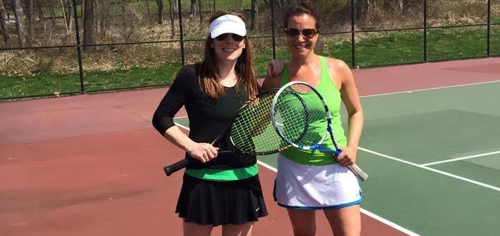 Kate (right) on the court with her tennis partner. (Photo courtesy of Kate Goldberg)