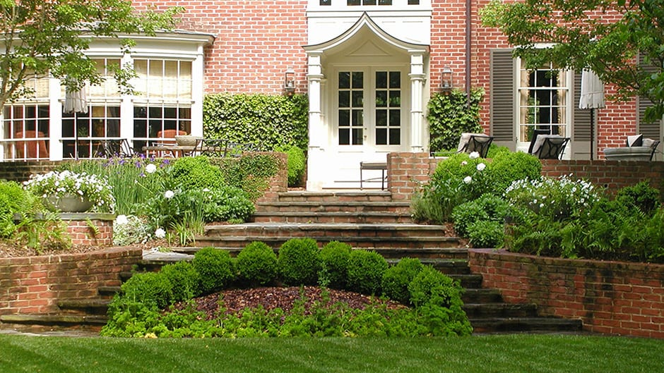 rear lawn and steps