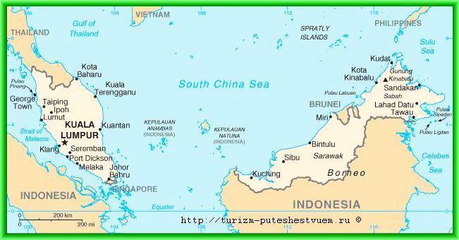 Карта - Западная и Восточная Малайзия