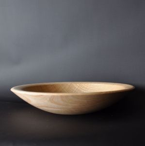 Shallow bowl in rippled ash