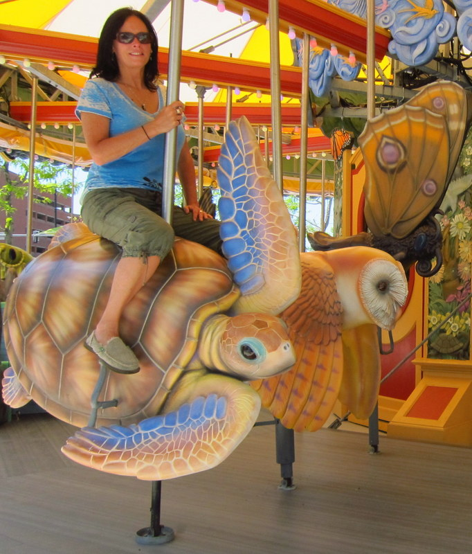 Sea Turtle handcrafted character, Greenway Carousel