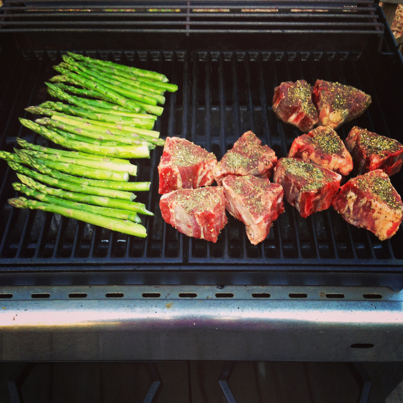 Grilling Lamb Chops and Asparagus