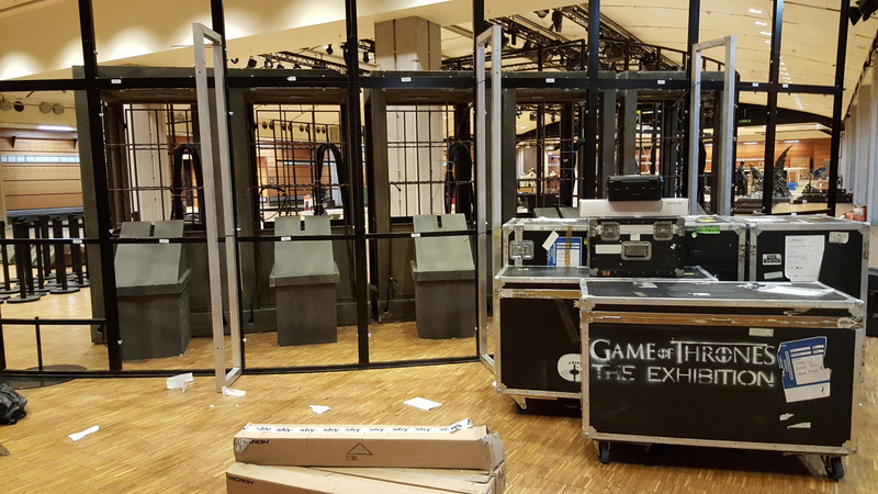 The set being dismantled in Paris.
