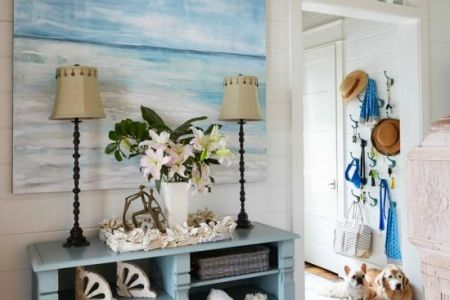 beach cottage decor vignette approved by the pups