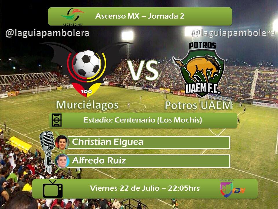 Murciélagos vs Potros UAEM en Vivo Ascenso MX 2016