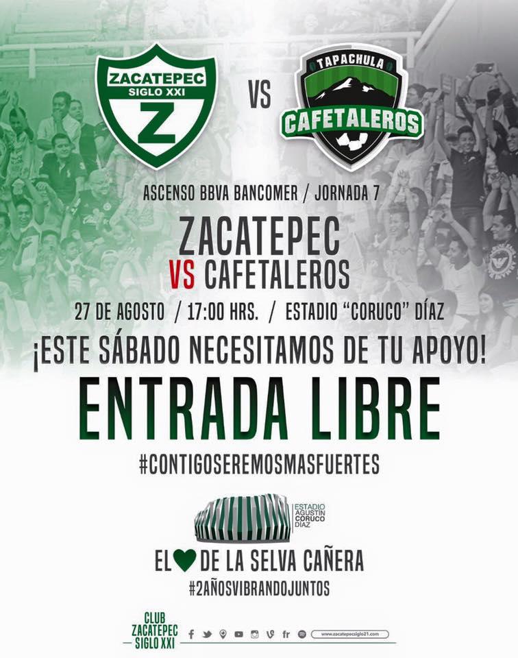 Zacatepec vs Cafetaleros en Vivo Ascenso MX 2016