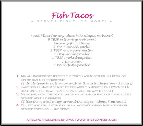 RECIPE fish tacos