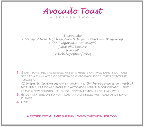 RECIPE avocado toast