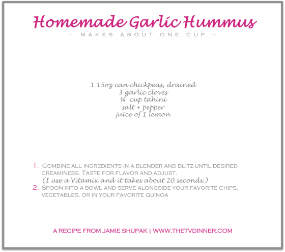 RECIPE garlic hummus