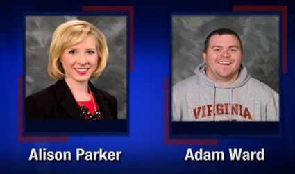 "This TV video frame grab courtesy of WDBJ7-TV in Roanoke, Virginia shows two WDBJ7 employees killed in an attack at Bridgewater Plaza in Moneta, Virginia on August 26, 2015. The crime happened during a live broadcast around 6:45 a.m ET. Police are looking for a suspect who apparently opened fire on WDBJ7's photographer Adam Ward and reporter Alison Parker. Adam was 27-years-old and Alison just turned 24. Both were from the WDBJ7 viewing area. Bridgewater Plaza is on Smith Mountain Lake. Adam graduated from Salem High School and Virginia Tech. Alison grew up in Martinsville and attended Patrick Henry Community College and James Madison University. AFP PHOTO/WDBJ7/HANDOUT = RESTRICTED TO EDITORIAL USE - MANDATORY CREDIT ""AFP PHOTO /WDBJ7-TV "" - NO MARKETING NO ADVERTISING CAMPAIGNS - DISTRIBUTED AS A SERVICE TO CLIENTS ="