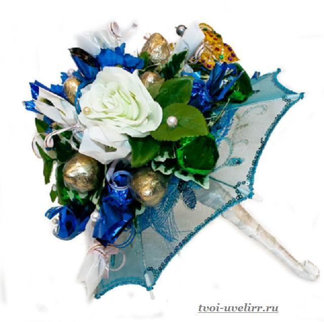 Синий букет из конфет своими руками