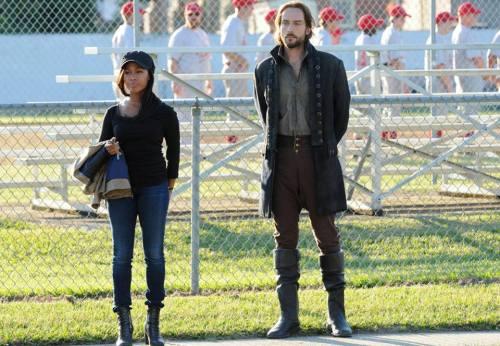 Ichabod and Abbie at a baseball game on Sleepy Hollow