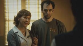 Nurse Lambert (Cynthia Stevenson) and a patient at Tarrytown Psychiatric on Sleepy Hollow