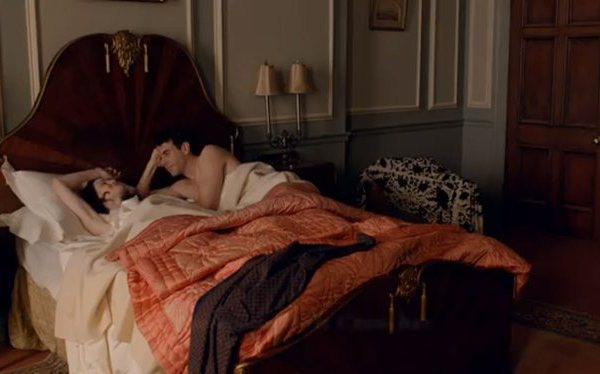 Mary and Gillingham in bed on Downton Abbey