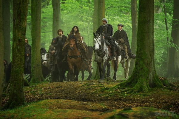 Jamie, Claire and Dougal on Outlander
